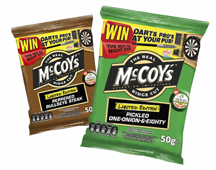 KP Snacks, are pleased to announce the launch of two new Darts inspired limited edition flavours to the existing McCoy's range