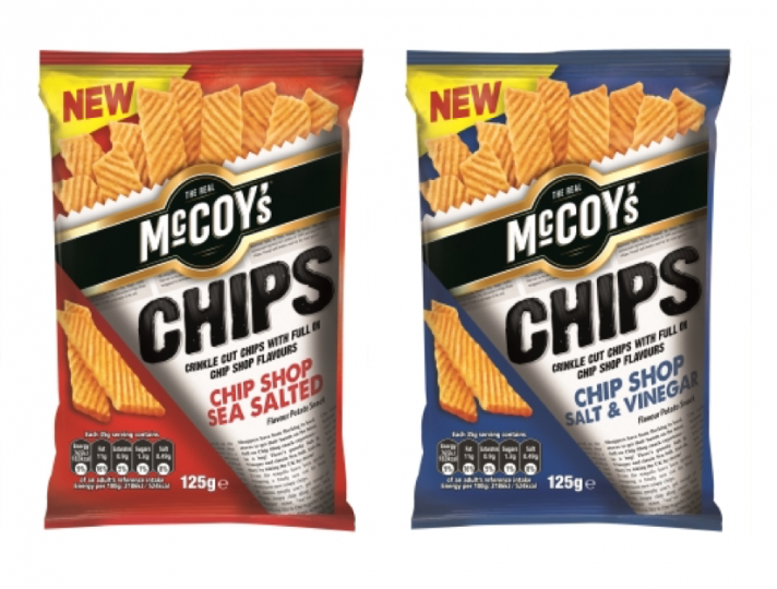 New McCoy's Chips for authentic 'chip shop' flavour!