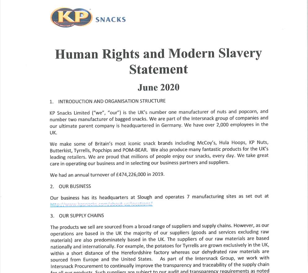 Modern Slavery Statement 2020