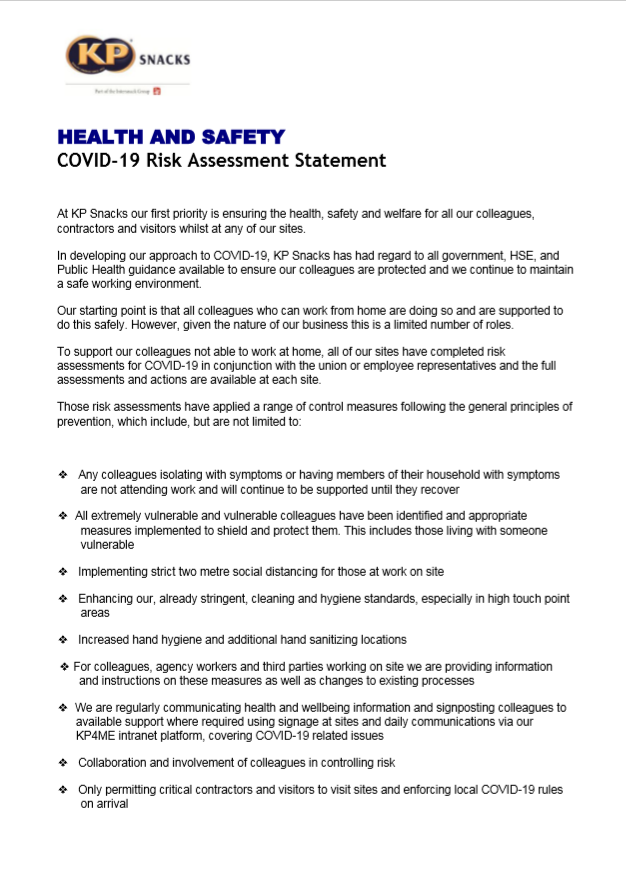 Covid19 Risk Assessment statement